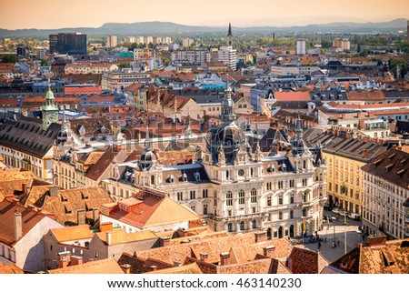 Top view on the town hall from the castle hill in Graz city. Traveling Austria