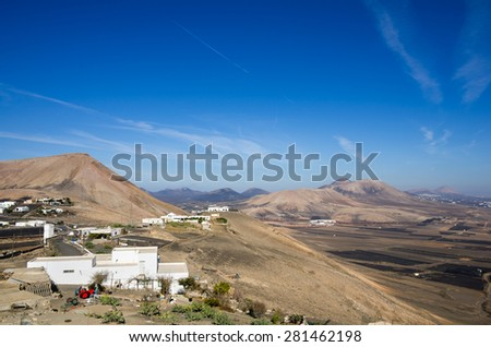 Top view on village Las Casitas de Femes, Canary Island Lanzarote, Spain