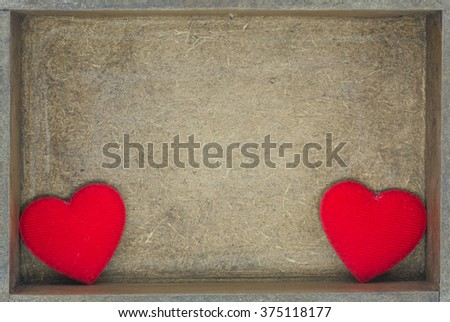 top view red hearts on wood background