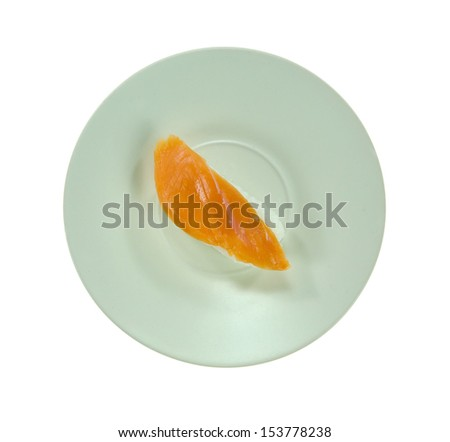 top view salmon sushi on plate  over  white background