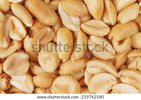 top view salted peanuts peeled full background  - stock photo