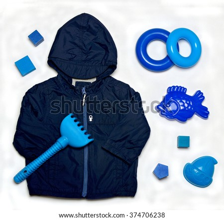 top view set of fashion trendy clothes and toys for little  baby - stock photo