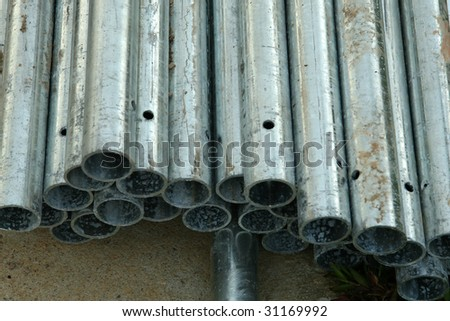 Top view shot of metal rods. Use as materials for building structure.