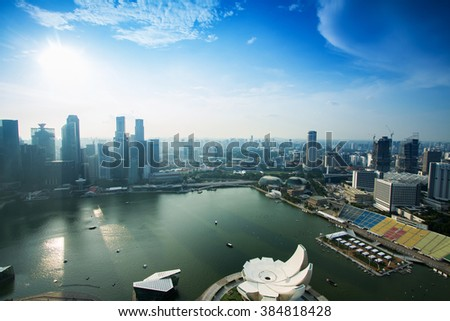Top view Singapore city singapore day time  - stock photo