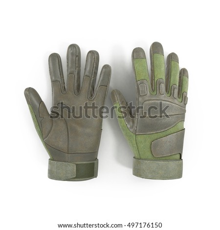 Top view soldier green gloves isolated on white. 3D illustration
