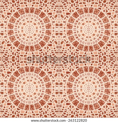 Top view tile floor pattern decorations for background - stock photo