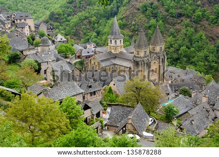 Top view to Abbey of Saint-Foy at Conques, France - stock photo