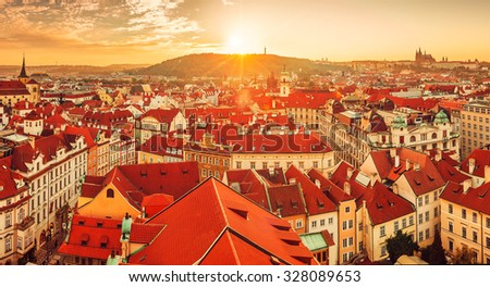 Charming Top View To Red Roofs Skyline Of Prague City Czech Republic. Illustration