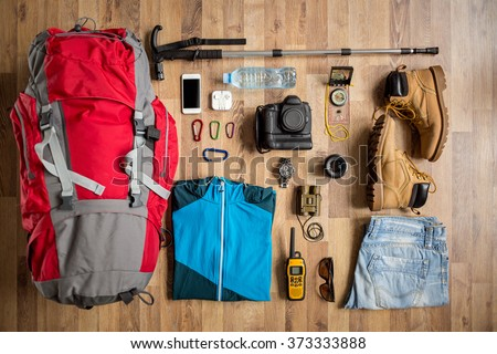 top view travel things on the floor for mountain trip