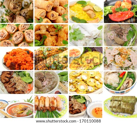 Top view vietnamese foods collection - stock photo