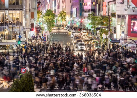 Top view view of Shibuya Crossing in Shibuya Tokyo Japan, one of the busiest crosswalks in the world. - stock photo
