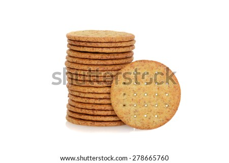 top view wheat cracker - stock photo