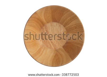 Top view, Wooden bowl isolated on white background