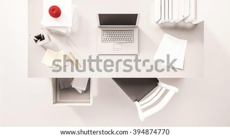 Top view, working space, 3d rendered - stock photo
