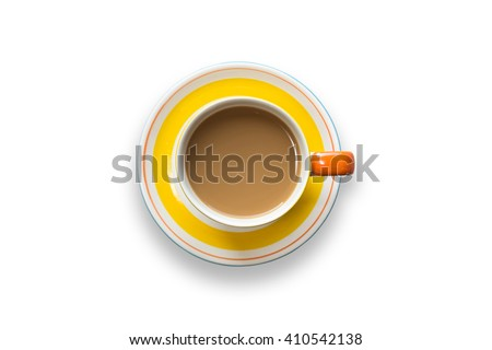 Top view yellow coffee cup isolated on white background - stock photo
