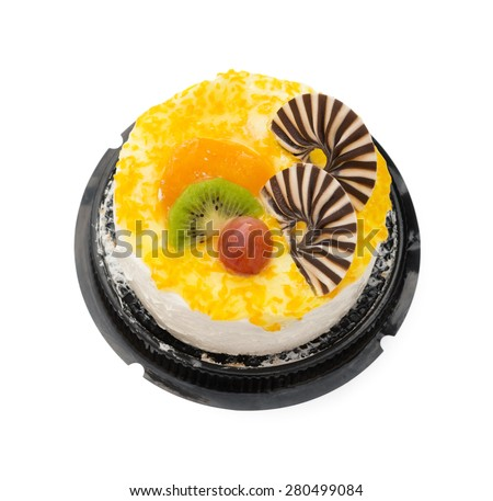 top view yummy cake on white with grape orange kiwifruit and chocolate on top, clipping path included - stock photo