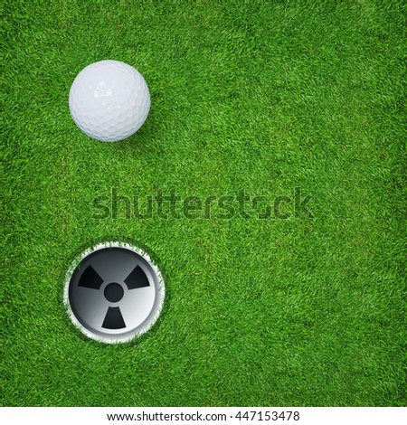 Top views of golf ball and golf hole on green grass texture.