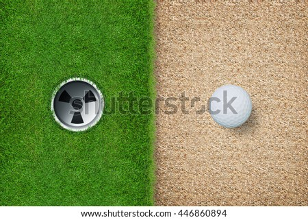 Top views of golf ball and golf hole with green grass and sand texture background.