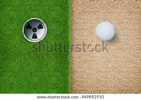 Top views of golf hole and golf ball on green grass texture and sand background with area for graphic design and text.