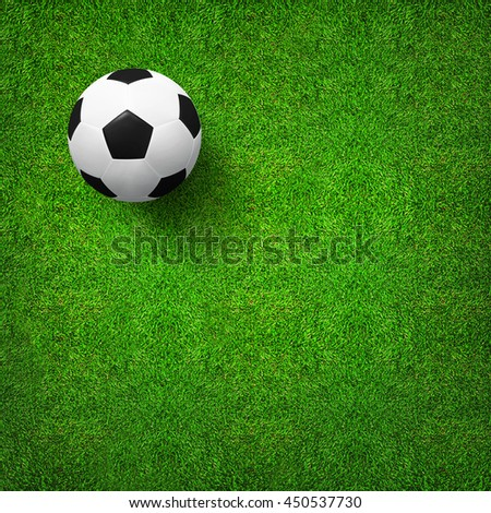 Top views of soccer ball on green grass of soccer field background with pattern and texture. Soccer ball 3D illustration.