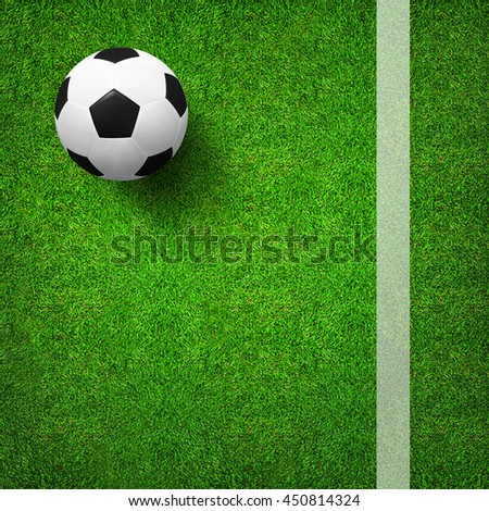 Top views of soccer ball on green grass of soccer field pattern background and texture. Soccer ball 3D illustration.