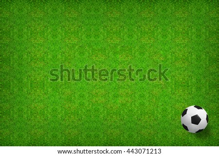 Top views of soccer ball on green grass pattern and texture background.