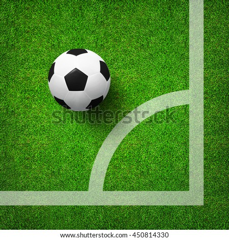 Top views soccer corner and soccer ball on green grass field pattern background and texture. Soccer ball 3D illustration. - stock photo
