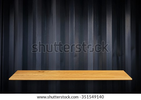 Top wooden shelves and steel wall background - For product display.