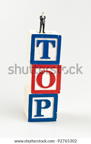 Top word and toy business man - stock photo