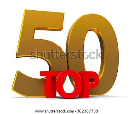 Top 50 word, isolated on white background, three-dimensional rendering - stock photo