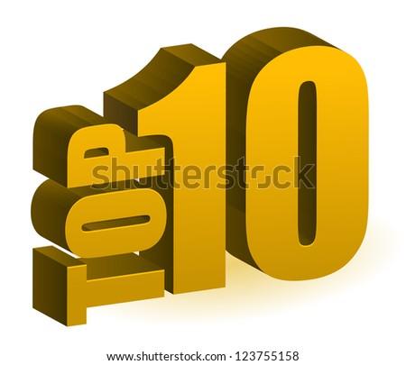 Top 10 words illustration design over white - stock photo