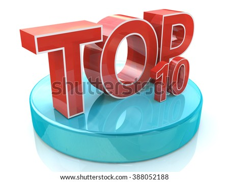 Top 10 words over white background in the design of information related rating - stock photo