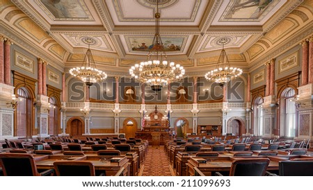 TOPEKA, KANSAS - JULY 23: House of Representatives chamber of the Kansas State Capitol building on July 23, 2014 in Topeka, Kansas