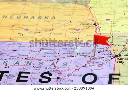Topeka pinned on a map of USA  - stock photo