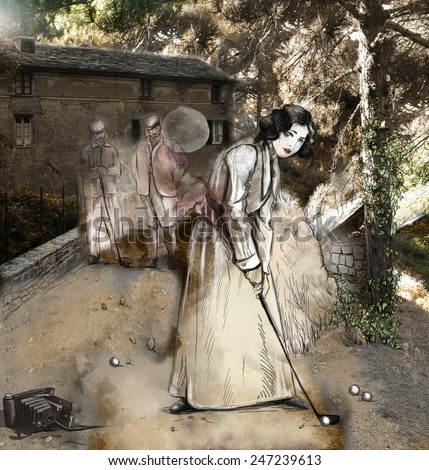 Topic: GOLF, Golfer (An Vintage Woman in front of an audience before old village house - first swinging a golf club). Mixed media plus hand drawn and painted illustrations.