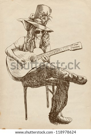 """Topic: Musician, Guitar player. - - - Full-sized (original) hand drawing (useful for """"live trace"""" converting for the vector image - and others). Technique: digital tablet. Number of colors: hundreds. - stock photo"""