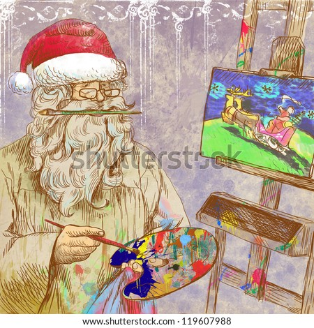 Topic: Santa Claus himself made gifts - Painting Christmas card on canvas. Full-sized (original) hand drawing. Technique: digital tablet. Number of colors: hundreds. - stock photo