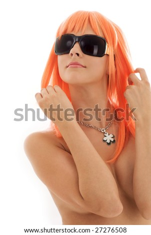 topless girl in shades with orange hair - stock photo