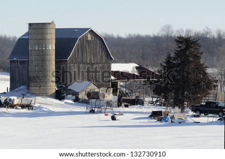 Topless Silo and Red Barn - stock photo