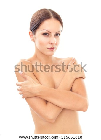 Topless woman body covering her breast with hand, isolated on white - stock photo