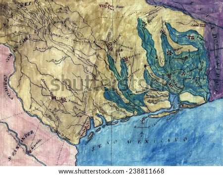 Topographic map of the Province of Texas. Stephen F. Austin's hand-drawn map of the Spanish Province of Texas. 1822 - stock photo