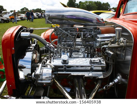 TOPPING, VA- SEPTEMBER 28: A 1932 Coupe engine and blower at the 18th Annual Wings, Wheels and Keels event at Hummel Air Field Topping Virginia on September 28, 2013 - stock photo