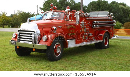 TOPPING, VA- SEPTEMBER 28: 1953 GMC Fire Truck on display at the 18th Annual Wings, Wheels and Keels event at Hummel Air Field Topping Virginia on September 28, 2013