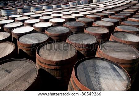 Tops of scotch whisky barrels - stock photo