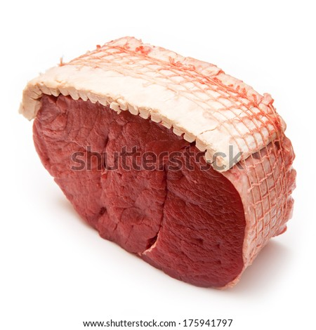Topside of British beef joint (0.8kg) isolated on a white studio background.