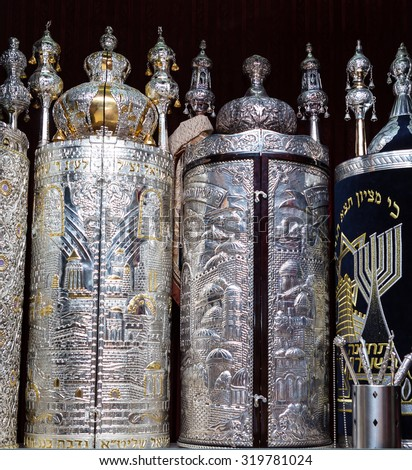Torah scrolls in the synagogue - stock photo