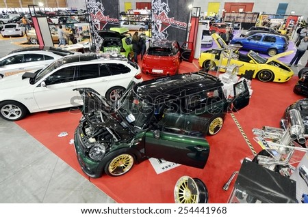 TORINO, ITALY - FEBRUARY 15, 2015: A Exposition of different and colored tuned cars on display at Expo Tuning Torino. Special edition of Mini Clubman in Torino business place on February 15, 2015 - stock photo