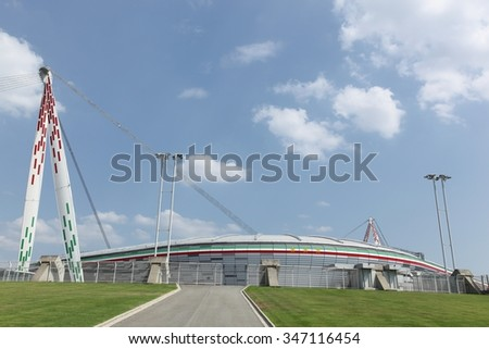 Torino, Italy - July 19, 2015: View of the Juventus stadium and the home of Serie A club Juventus Football Club, Italy
