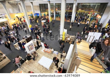TORINO, ITALY - OCT. 24: Panoramic view of people at Salone del Gusto, international fair of tastes and slow food on October 24, 2010 in Torino, Italy.