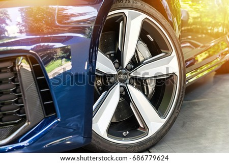 TORINO - JUN 10, 2017: Showroom. Close up of a blue Audi RS5 in a showroom